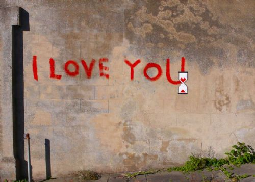 BANKSY - I LOVE YOU?? canvas print - self adhesive poster - photo print